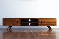 180cm Vintage Retro Long TV Stand/ Entertainment Unit. Solid Wood, Lowboard
