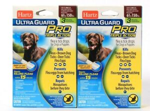 2 Hartz Ultra Guard Pro Triple Acton Dogs 61 To 150 Lbs 3 Monthly Treatments