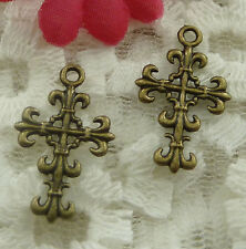 free ship 300 pieces bronze plated cross charms 23x14mm #2138