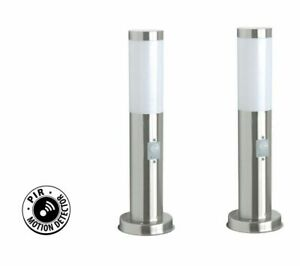 PIR Garden Path Driveway Mains Powered Post Light Brushed Steel 45cm IP44 x2