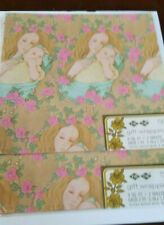Vintage Tie Tie Baby Shower Gift Wrap set of 2 mother and child new