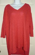 New Womens 4X 26W-28W Red Ribbed Hacci Knit Top Shirt Sweater V-Neck
