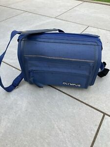 Genuine Vintage Olympus Camera Pro-Zoom Canvas Holdall Bag Blue With Strap