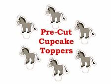 x24 DONKEY wafer paper stand up cup cake toppers PRE-CUT