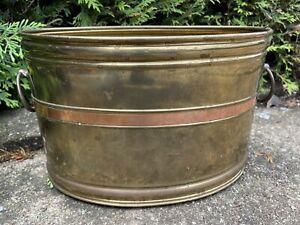 Vintage All BRASS & Copper Flower Planter POT Tub Jardiniere