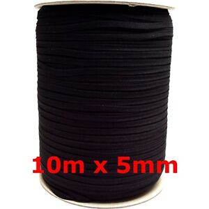 10m x 5mm Gummiband schwarz soft Gummilitze kochfest Kordel Gummizug Maske nähen