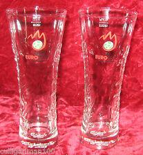 1 - Lot of 2 - Carlsberg Embossed Euro 2008 25 cl Beer Glasses (2016-256)