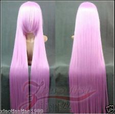 "anime 150cm/59"" super long straight Cosplay Fashion Wig heat resistant Pink purp"