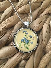 Forget-Me-Not Blue Flowers Floral Glass Pendant Silver Chain Necklace NEW