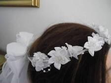 First Communion White Star Flower Wreath Veil w/ ribbon & pearl streamers