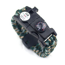 Paracord Survival Bracelet Whistle Flint Scraper Fire Starter Striker Compass