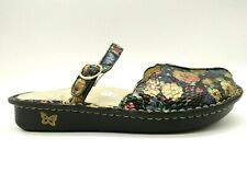 Alegria Metallic Floral Print Slide Buckle Mules Shoes Women's 40 / 9.5 - 10