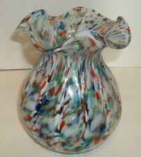 Italian Murano Splatter Art Glass Vase Scalloped Rim Large Vintage Multi Colored
