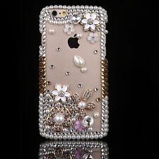 Bling handmade Crystal Diamonds gems flower Soft TPU Gel Back Case Cover Skin #2