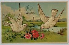 New ListingAntique Valentine Postcard Germany 1908 Doves Franklin Stamp Paper Cancel Bw 308