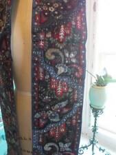 "Chic French 7"" Wide Silk Velvet Ribbon Circa 1920 Ornate Paisley Pattern 84"""
