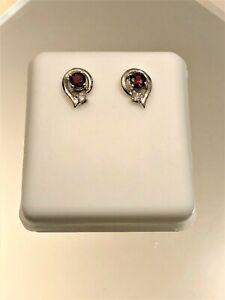 Garnet Earrings Stud [1pc Garnet] 14kt White Gold Curve Design – Jewelry, Gift