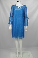 Laundry Shelli Segal Womens Blue Crochet Lace Overlay Bell Sleeve Boho Dress 14