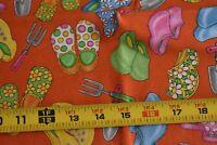By 1/2 Yd, Gardening Tools & Shoes on Orange Quilt Cotton, RJR/Dan Morris, N3586