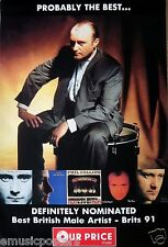 "PHIL COLLINS ""BRIT AWARDS 1991"" GIANT SUBWAY U.K. PROMO POSTER - Sitting On Drum"
