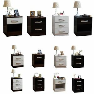 Hulio 1 2 3 Drawer Chest Bedside Cabinet High Gloss Wood Bedroom Storage