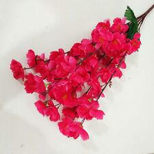 70 Heads Wedding Artificial Peach Blossom Silk Fake Flowers Bouquet Home Decor H