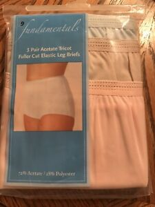 3 Vintage Fundamentals Acetate Tricot Panties Sz 9  Pink Tan Blue Fuller Cut
