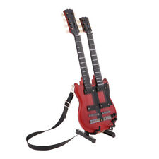 1/6 Miniature Guitar Double Neck Wooden Musical Instruments Model With Stand