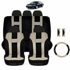 NEW BEIGE & BLACK POLYESTER SEAT COVERS & STEERING COMBO 12PC SET FOR CARS 2324