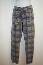 NWT PAIGE DENIM Sz 28 Nimbus Gray Plaid Print Peg Super Skinny Jeans Pants $175