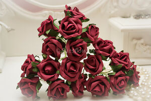 Wedding Flowers large 6cm 18 Burgundy Foam Roses Great for Bouquets etc