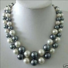 Beautiful WHITE GRAY SHELL PEARL NECKLACE 8-14mm