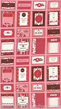 """Fabric MODA Quilt Panel ~ CHEMISTRY ~ by Cosmo Cricket (37010 11) Red 24"""" x 45"""""""