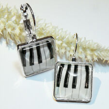 Ohrringe * PIANO * Glas-Cabochon * BRISUR Ohrhänger KLAVIER TASTATUR Musik