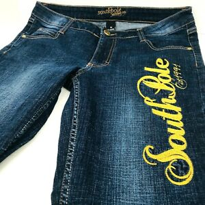 South Pole Jeans Size 11 Stretch Embroidered Logo On Leg Dark Denim Wash Bootcut