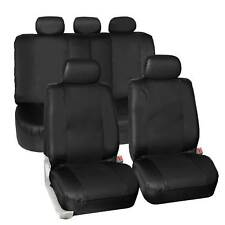 Synthetic Leather Seat Covers Car Suv Auto 5 Headrest Covers Black