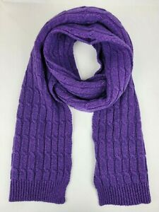 Gucci Women's Purple Shimmer Knitted Wool Long Scarf 564223 5270