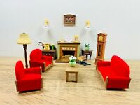 Sylvanian Families Luxury Living Room Working Fireplace Telephone Sofa
