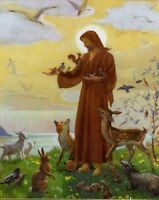 "Catholic print picture  -  JESUS WITH ANIMALS  -   8"" x 10"" ready to be framed"