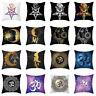HK- KQ_ Yoga OM Symbol Sun Moon Star Cushion Cover Sofa Decor Pillow Case Square