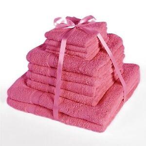 x10 PIECE TOWEL BALE 100% EGYPTIAN COTTON TOWELS PINK - 4 FACE + 4 HAND + 2 BATH