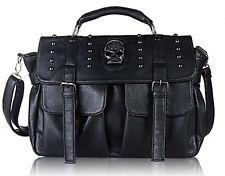 Women's Skull Rivet Punk Handbag Faux Leather Crossbody Shoulder Bag Satchel