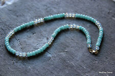 Aquamarine &  Moonstone Necklace. 23 inches.
