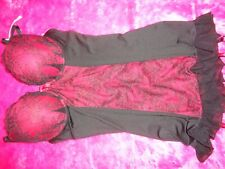 ANN SUMMER UNDERWIRED RED/BLACK CAMI SUSPENDER EX BOOST size 12 B-C NEW WITH TAG