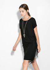 Brand New Mango Black Fringe Drapey Dress City Boho - Size XS