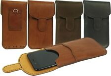VERTICAL LEATHER WAIST POUCH HANDMADE OF COWHIDE CASE COVER FOR MOBILE PHONES