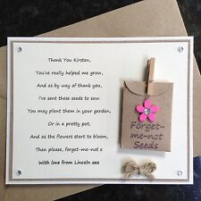 Personalised Thank You Poem Gift Magnet. Teacher Assistant Nursery Childminder