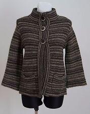 damen marks & spencer jacke tweed kurzmantel wollmischung braun grau gr. uk 12 exc