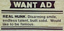 New listing Original Vintage Want Ad Real Hunk Iron On Transfer
