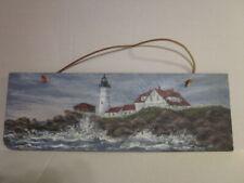 Vintage 1995 Portland Head Light Maine Hand Painted Artist Signed Slate Tile